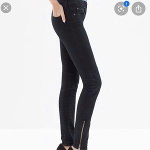 Madewell Black Skinny Skinny Zipper Ankle Jean